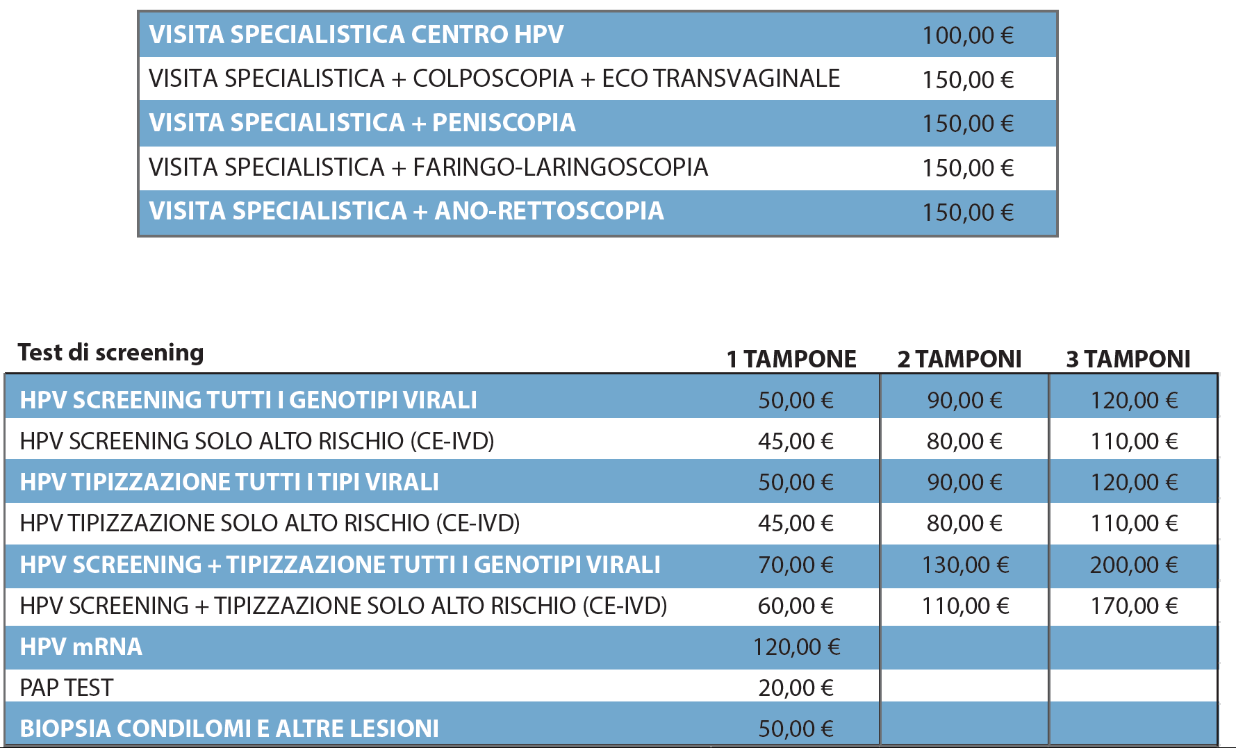 TABELLA_PREZZI_CENTRO_PREVENZIONE_HPV_VILLA_MAFALDA_ROMA
